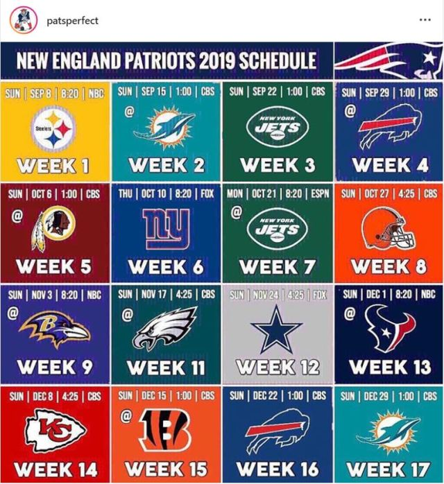 Patriots Schedule 2019 Patriots 2019 Schedule via @patsperfect – The Homie Cast